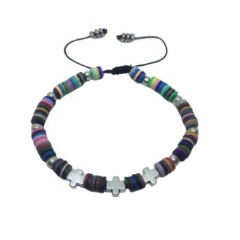 Cross Heishi Bracelet