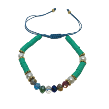 Crystal Bead Heishi Bracelet