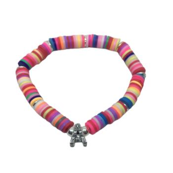 Alphabet A Heishi Bead Bracelet