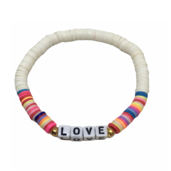 LOVE Charm Heishi Stretch Bracelet