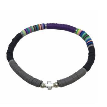 Heishi Beads Cross Charm Bracelet