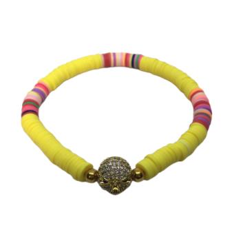 CZ Skull Heishi Beads Bracelet