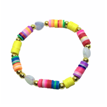 Heart & Heishi Beads Stretch Bracelet